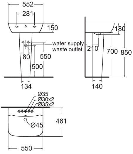 Chậu rửa mặt American WP-1511/ WP-F711 chân dài