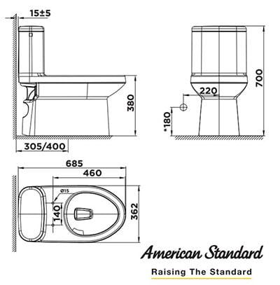 Bồn cầu American WP-1841S3 kèm nắp rửa thông minh
