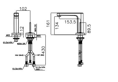 Vòi chậu lavabo American A-1355 nóng lạnh