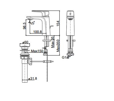 Vòi rửa lavabo American WF-1701 nóng lạnh một lỗ