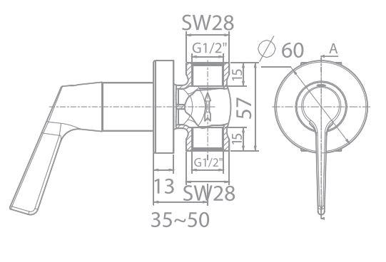 Vòi sen lạnh âm tường American WF-T605