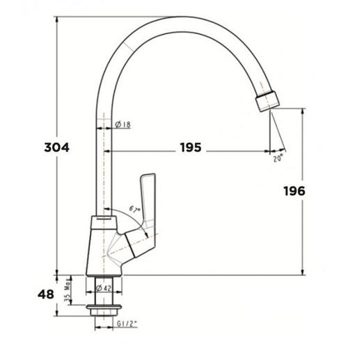 Vòi rửa bát American WF-T706 lạnh
