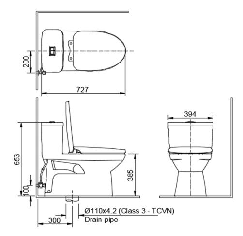 Bản vẽ bồn cầu Inax AC-969VN một khối -bản vẽ