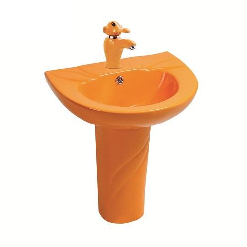 Chậu rửa mặt trẻ em chân đứng màu cam