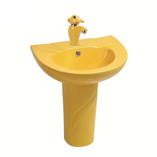 Chậu rửa mặt trẻ em chân đứng màu vàng