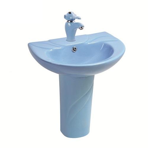 Chậu rửa mặt trẻ em chân đứng màu xanh dương