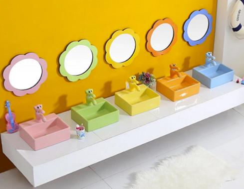 Chậu rửa mặt trẻ em bàn đá vuông (5 màu sắc)