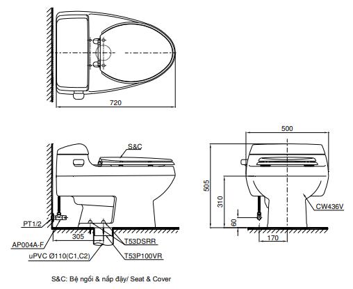 Bồn cầu ToTo MS436T2 một khối
