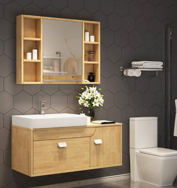Làm tủ chậu cho nhà tắm bằng chất liệu gỗ
