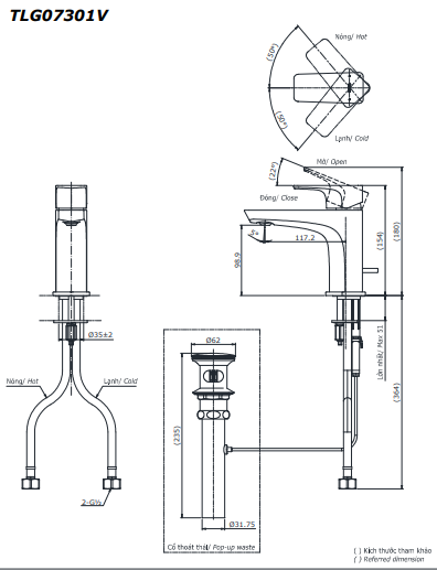 Vòi rửa lavabo ToTo TLG07301V nóng lạnh