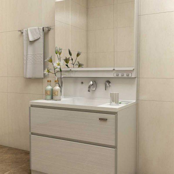 Tủ chậu cho nhà tắm bằng chất liệu ván nhựa