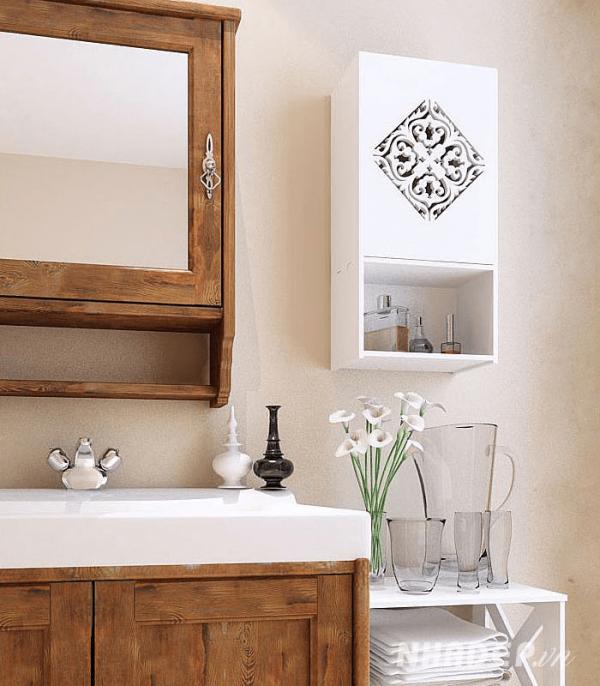 Trang trí thêm khung gương với họa tiết bằng gỗ để căn phòng trở thành tâm điểm
