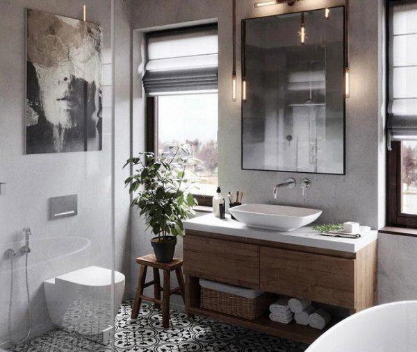 Tủ lavabo treo tường rửa mặt được thiết kế theo phong cách phương Tây hiện đại