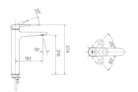 Vòi rửa lavabo Inax LFV-652SH nóng lạnh 1 lỗ