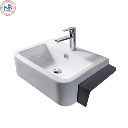 Chậu rửa lavabo Bravat C22149W-1-ENG bán âm vuông