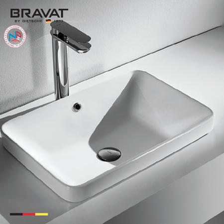 Chậu rửa lavabo Bravat C22327W-ENG vuông đặt bàn