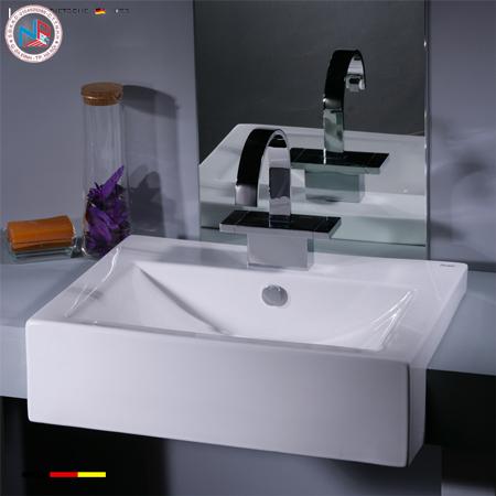 Chậu rửa lavabo Bravat C22108W-1A ENG bán âm vuông