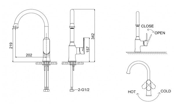 Vòi rửa bát Bravat F7125183CP-RUS