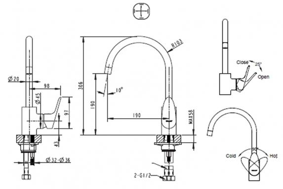 Vòi rửa bát Bravat F74898C-1A nóng lạnh