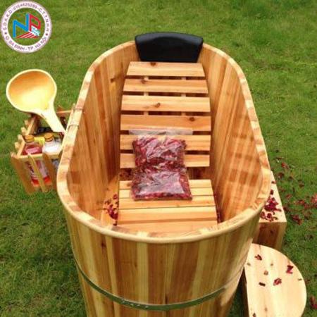 Bồn tắm gỗ pơ mu ngâm thuốc chịu nước 120 (đặt theo yêu cầu )