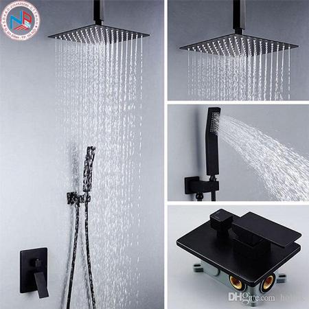 Sen tắm âm trần màu đen Miken MK 8017