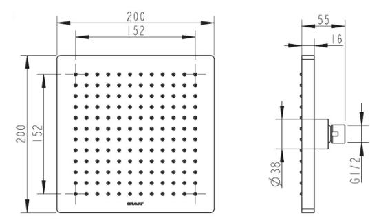Bát sen tắm vuông Bravat P7078C-ENG