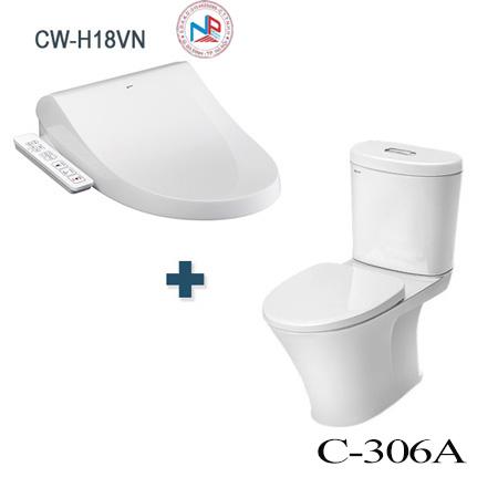 Bồn cầu nắp rửa điện tử Inax C-306A + CW-H18VN