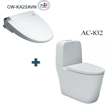 Bồn cầu nắp rửa điện tử Inax AC-832 + CW-KA22AVN/BW1