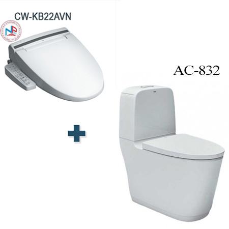 Bồn cầu nắp rửa điện tử Inax AC-832 + CW-KB22AVN/BW1