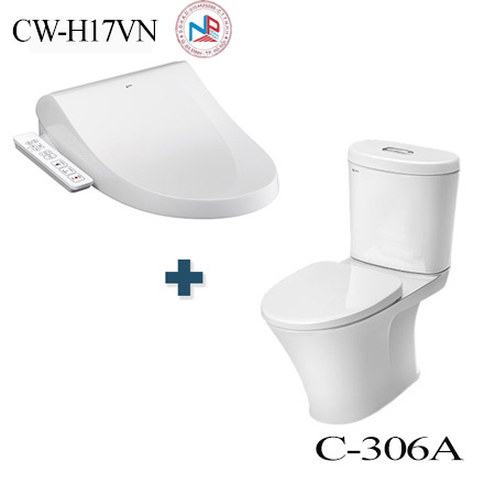 Bồn cầu nắp rửa điện tử Inax C-306A + CW-H17VN/BW1