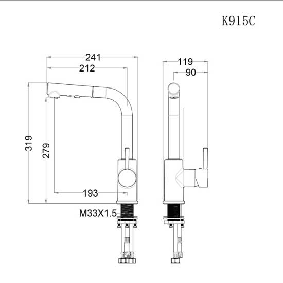 Vòi rửa bát nóng lạnh Caesar K915C
