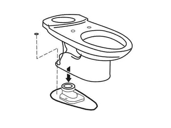 Bước 4: Đặt bồn cầu vào vị trí 1