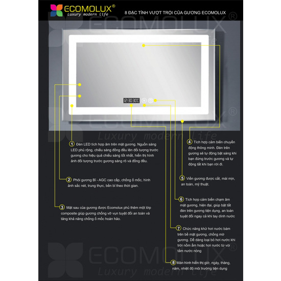Gương Chữ nhật ECOMOLUX HCND-XR40