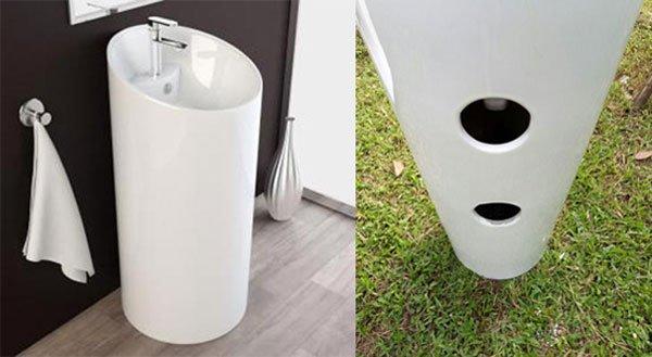 Chậu rửa lavabo nghệ thuật liền khối thoát tường
