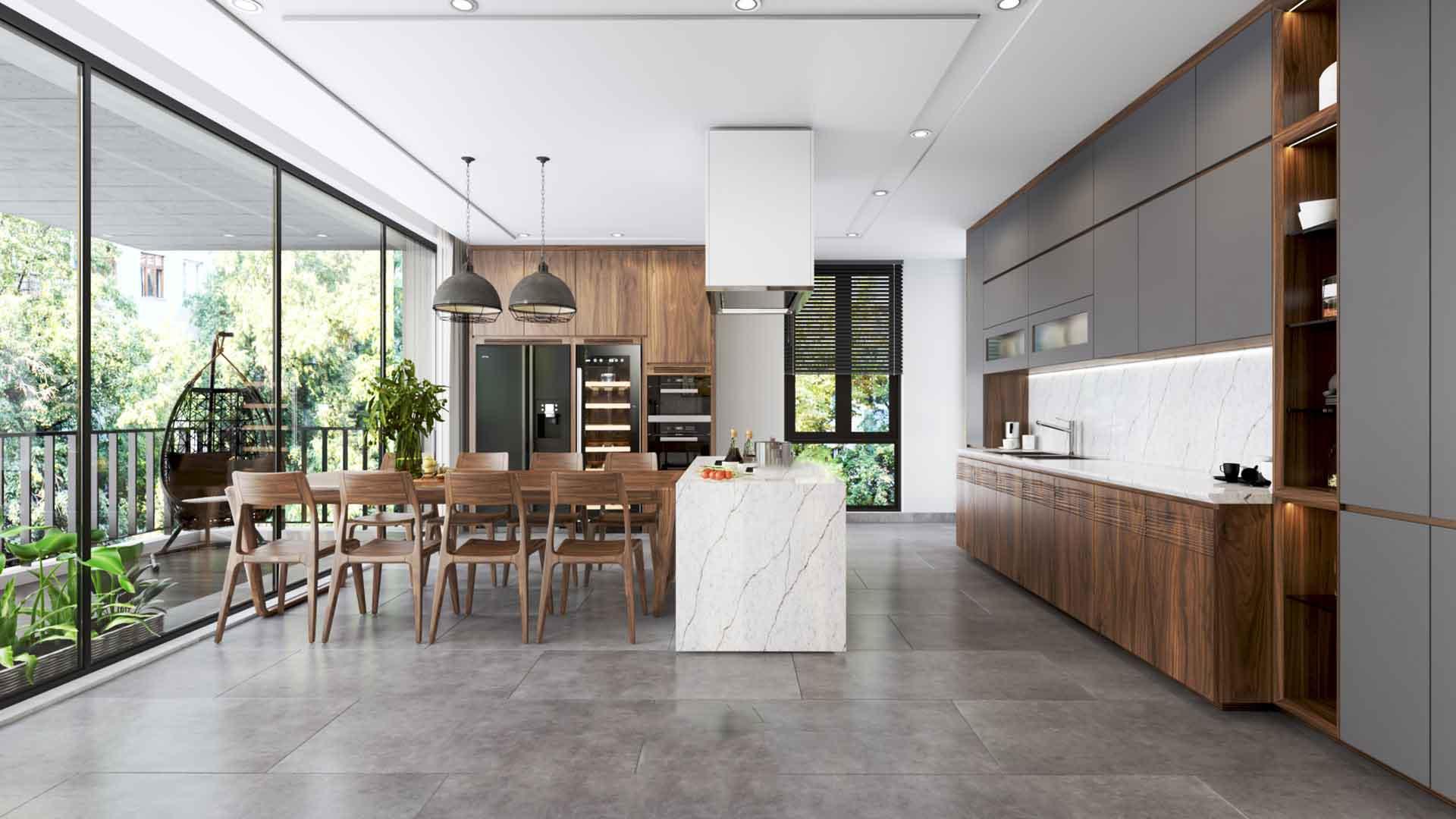 Vài mẫu phòng bếp đẹp cho nhà ống ấn tượng năm 2021