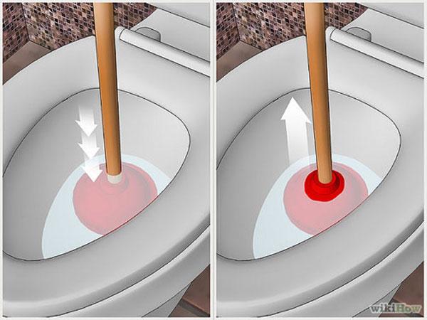Xử lý bồn cầu thoát nước chậm với pit-tong cao su 1