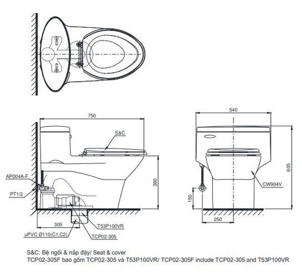Bồn cầu TOTO MS636DT2 1