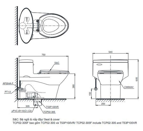 Bồn cầu cảm ứng TOTO MS904W4 1
