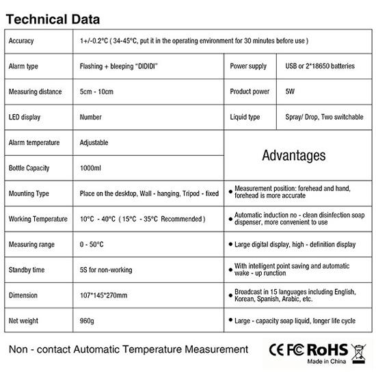 Máy xịt cồn sát khuẩn tự động kết hợp máy đo thân nhiệt SEWO-K10 Pro (có chân)