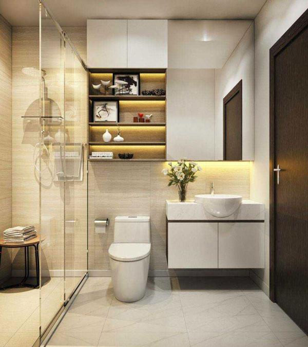 Phòng tắm nhỏ 3m2 nhiều không gian lưu trữ 1